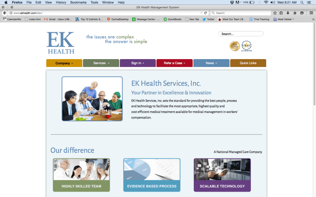 EK Health website