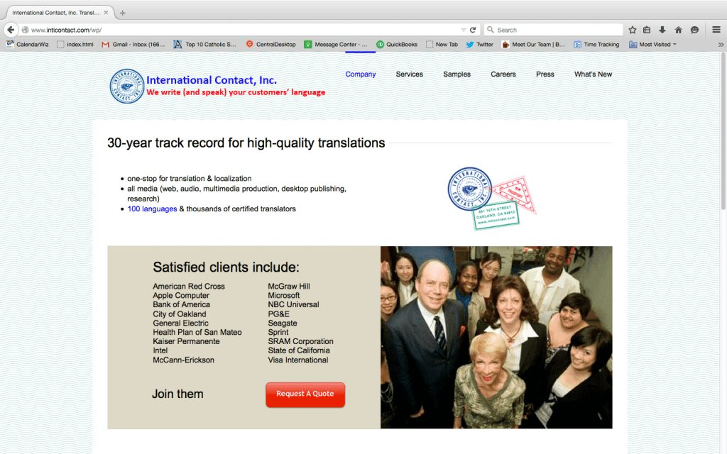 Intl Contact website