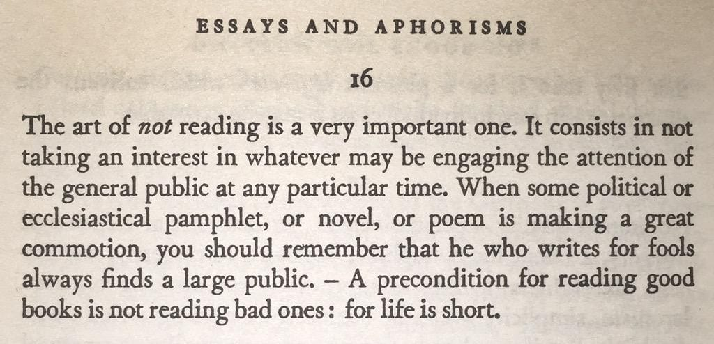 schopenhauer art of not reading