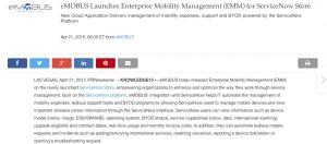 eMOBUS Service Now Announcement on April 21 2015