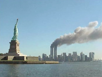9-11 attacks: Statue of Liberty and Twin Towers on Fire
