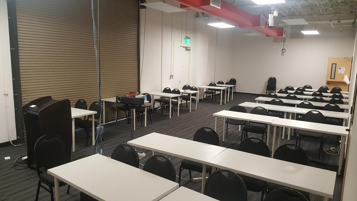 Big Room at Hacker Dojo Where You Can Explore Your Fit with Startups, Tables will be re-arranged for small group discussion