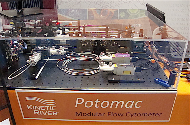 The Potomac modular flow cytometer is a flexible platform designed for ease of modification and upgrades. Customizable from 1 to 7 lasers and from 4 to 20 detection channels, it can accommodate novel light sources and detectors.